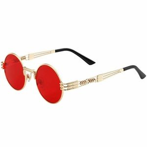 Round retro red metal sunglasses frames men women